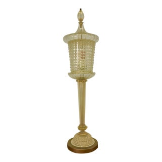 1940s Tall Amber Murano Glass Table Lamp For Sale