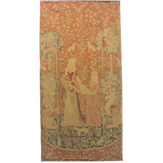 """A Pair of Antique French Handwoven Wool Wall Hanging Tapestry - 4'3"""" X 8'7"""" For Sale"""