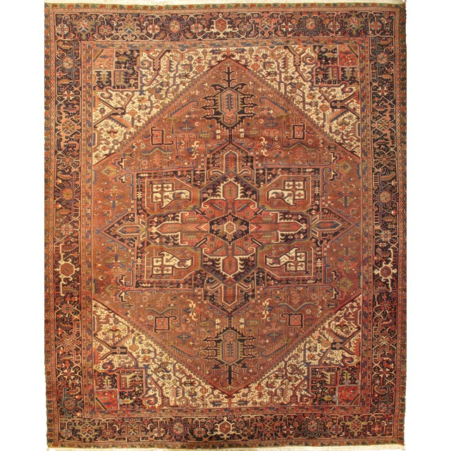 "Pasargad N Y Semi-Antique Persian Heriz Hand-Knotted Rug - 11'9"" X 14'8"" For Sale"