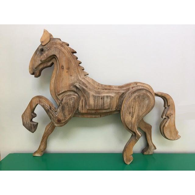 Large Monumental Modernist Sculptural Wood Horse Statue - Image 2 of 6