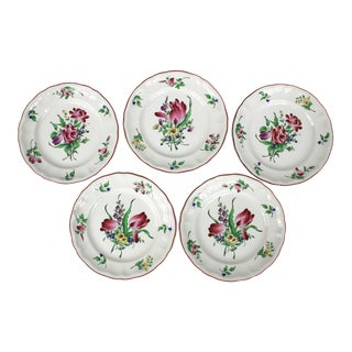 French Luneville Old Strasbourg Pattern Dessert / Salad Plates - Set of 5 For Sale