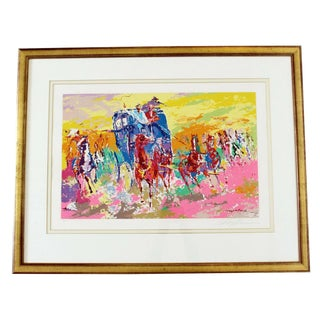 Mid Century Modern Framed Signed Leroy Neiman Lithograph Numbered 164/300 Horses For Sale