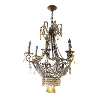 Clear & Amber Crystal Drop Chandelier For Sale