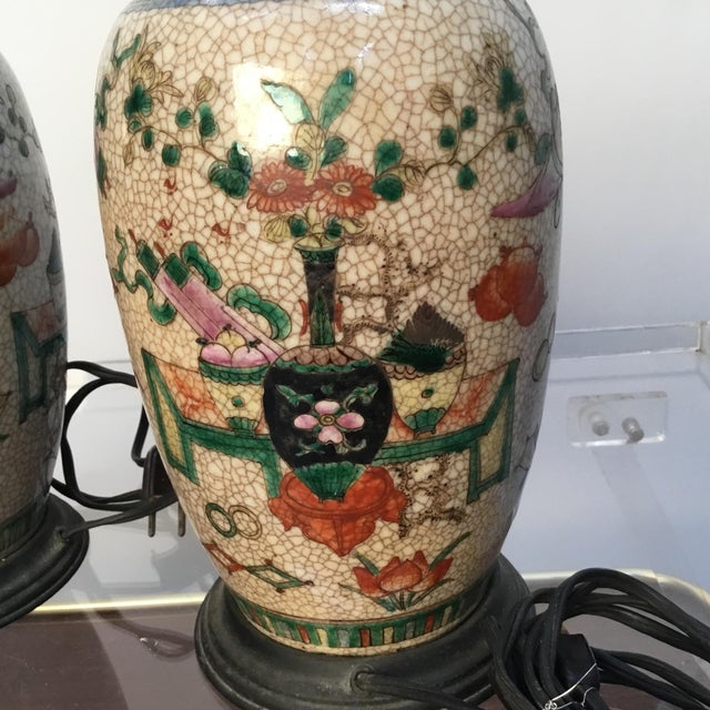 Red 19th Century Antique Asian Hand Painted Table Lamps - a Pair For Sale - Image 8 of 13