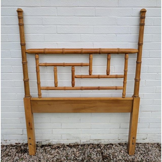 Faux Bamboo Faux Bamboo Chippendale Wooden Poster Twin Headboard For Sale - Image 7 of 9