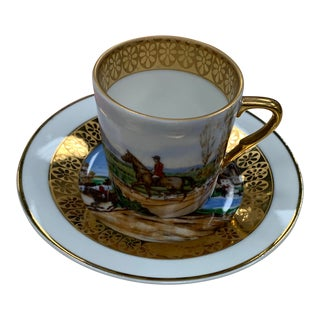 Limoges Equestrian Cup and Saucer Set For Sale