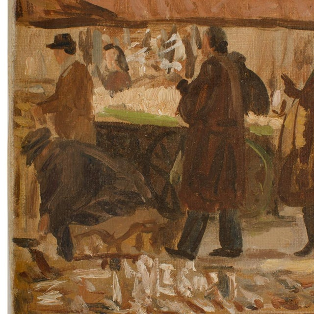 "1940s ""Market in Milan"" Street Scene Oil Painting by Joshua Felise Ziro Brevio For Sale - Image 9 of 13"