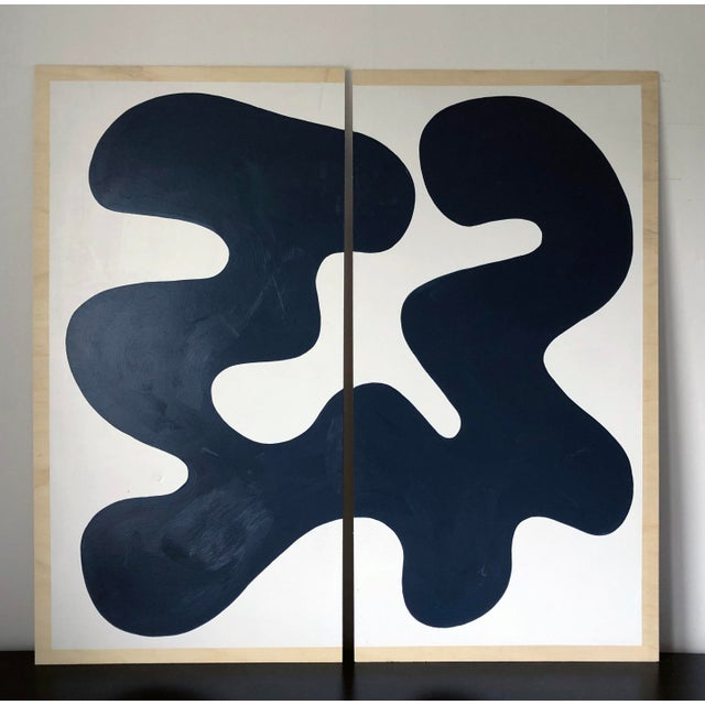 Navy and White Abstract Diptych on Wood For Sale - Image 11 of 11