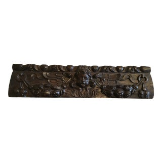Antique French Wood Carving Fragment Pediment Angel Circa 1760s For Sale