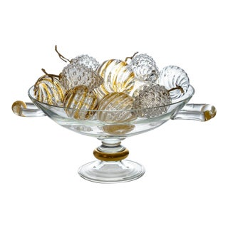 Italian Large Murano Glass Centerpiece Filled With Murano Glass Fruit For Sale