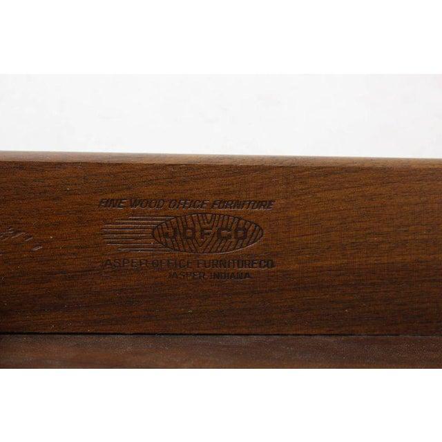 Caned Back Overhanging Floating Banded Top Large Brass Hardware Executive Desk For Sale - Image 4 of 12