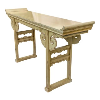 Chinoiserie Cloud Asian Altar Console Table For Sale
