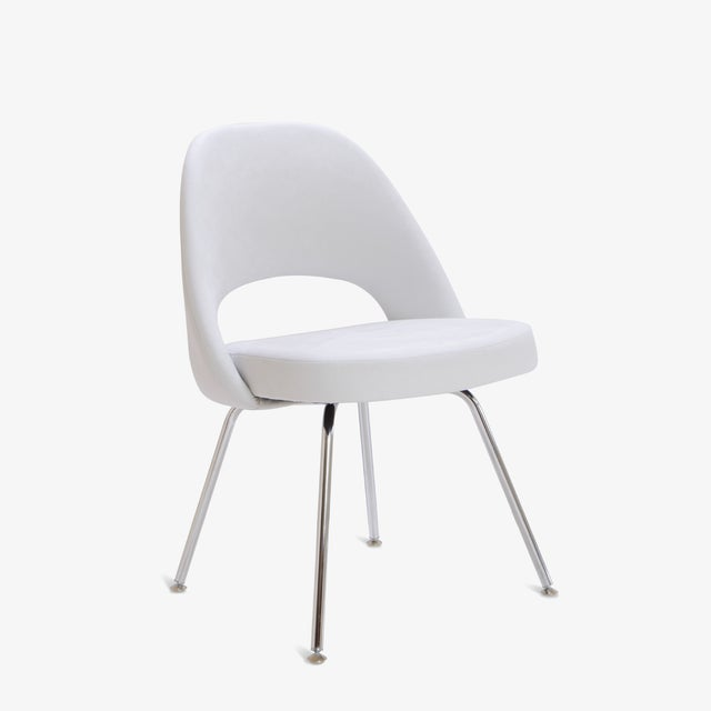 Saarinen Executive Armless Chairs in Dove Luxe Suede, Set of 6 - Image 3 of 8