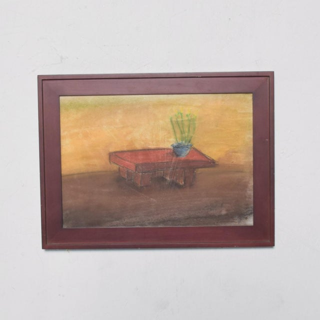 "For your consideration: Pastel on Paper Drawing: Table - Still Life- by Pablo Romo 1990's USA Dimensions: 16""w x 12""h x..."