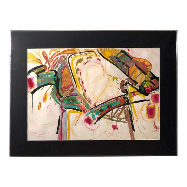 C1970s Bold and Colorful Abstract Painting For Sale