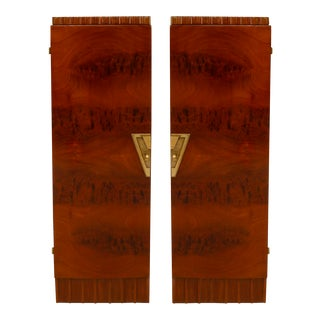 Pair Of French Art Deco Mahogany Veneer Pedestals/cabinets