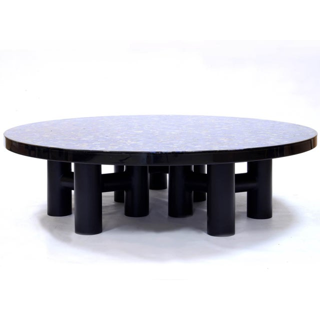 Modern Coffee Table With Lapis Lazuli, by Etienne Allemeersch, Circa 1975 For Sale - Image 3 of 7
