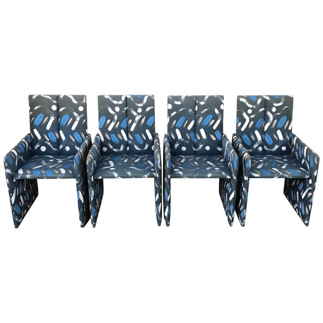Set of Four Milo Baughman Postmodern Slab Side Dining Room Chairs For Sale