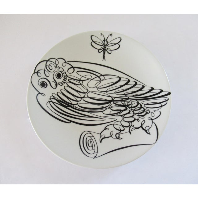 Vintage Fornasetti Uccelli Calligrafici Bird plate, number 6 in the series, depicting a stylized bird (owl) in black on...