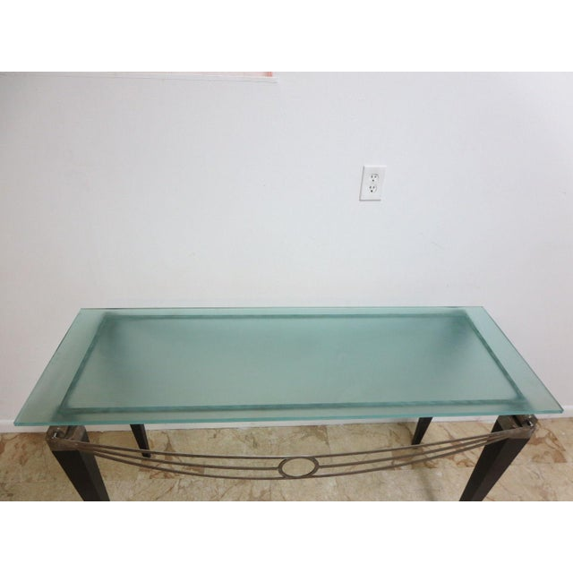 Blue Neo Classical Metal Draped Federal Sofa Hall Foyer Table Server Console For Sale - Image 8 of 11