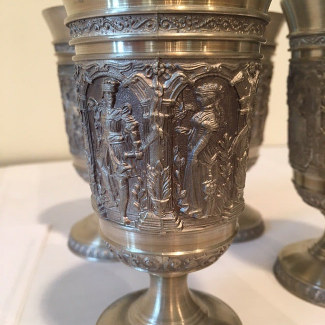 Vintage Embossed Pewter Cups - Set of 4 - Image 8 of 9