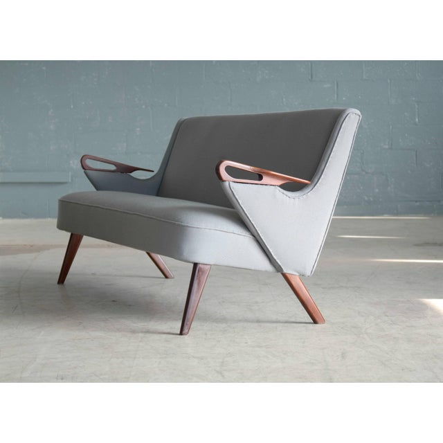 Gray Sven Skipper Attributed 1950s Small Sofa in Wool and Teak Danish, Midcentury For Sale - Image 8 of 11