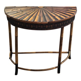Circa 1890 English Bamboo Demilune Table With Carved Metal Banding and Starburst Top For Sale