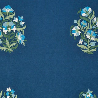 Schumacher Antalya Medallion Embroidery Fabric in Aegean For Sale