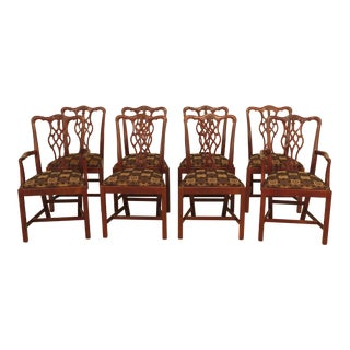 1990s Vintage Hickory Chair Co. Chippendale Mahogany Dining Room Chairs- Set of 8 For Sale