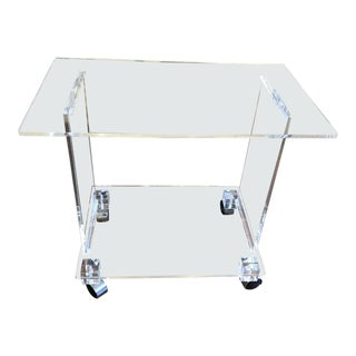 Vintage Acrylic Rolling Cart For Sale