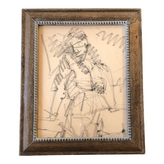 Original Vintage Female Nude Abstract Charcoal Study Drawing Modernist Wood Frame For Sale