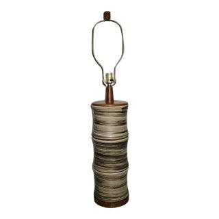 Martz Marshall Studios Mid-Century Modern Pottery and Teak Wood Table Lamp For Sale