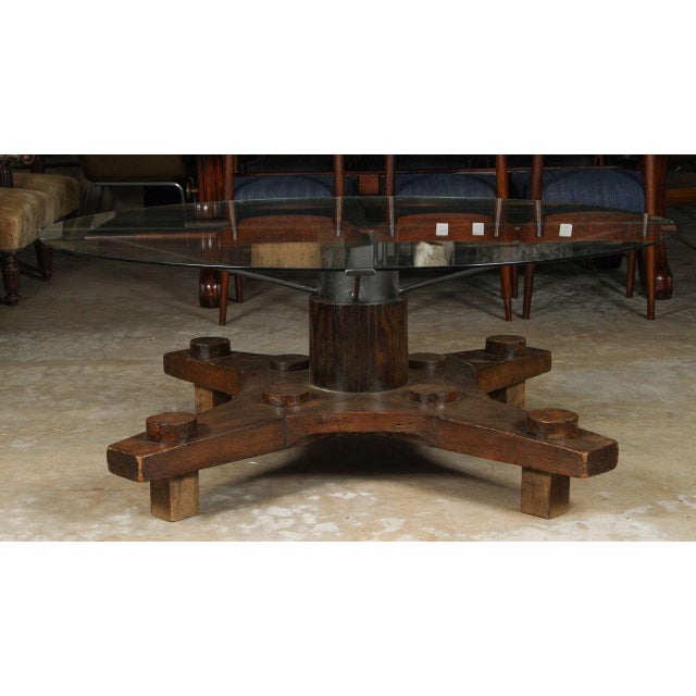 Mid-Century Modern Round Glass Top Coffee Table Made From English Ship Port Part With Metal Base For Sale - Image 3 of 10