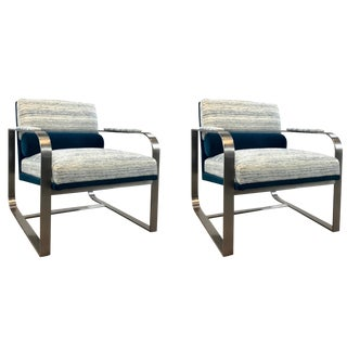 Stylish Caracole Modern White and Turquoise Lounge Chairs Pair For Sale