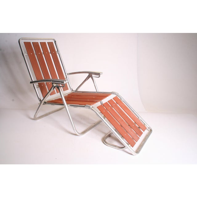 Mid Century Redwood Aluminum Folding Chaise Lounge Chair For Sale - Image 4 of 11