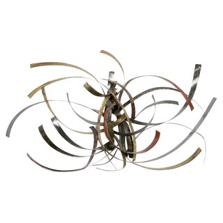 "Mixed Metal Wall Sculpture Titled ""Saturn's Rings"" by Silas Seandel For Sale"