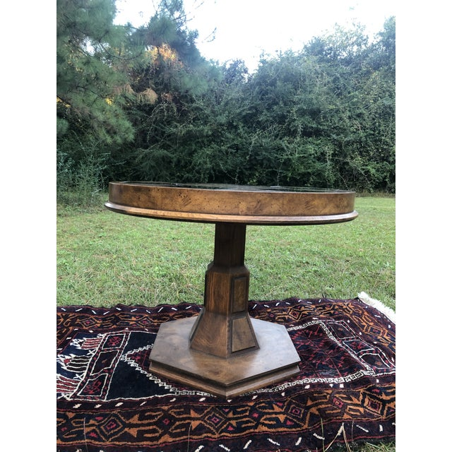 Wood Mid Century Burlwood Pedestal Table With Inset Smoked Glass For Sale - Image 7 of 12