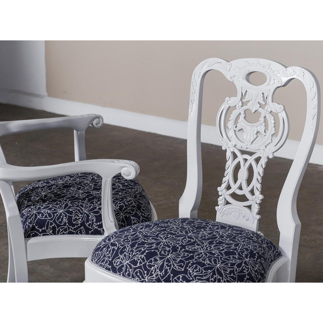 2010s George III Chippendale Style Painted Dining Chairs - Set of 8 For Sale - Image 5 of 10