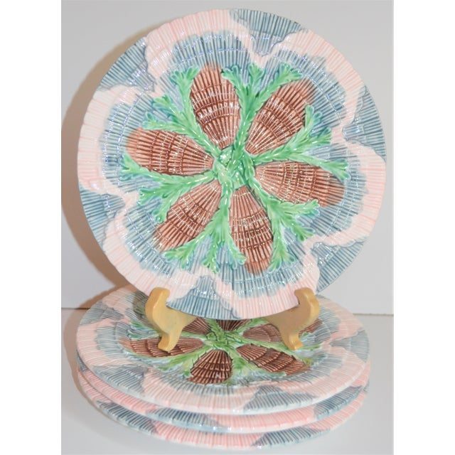 Light Pink Vintage Horchow Majolica Seashell Plates - Set of 4 For Sale - Image 8 of 8