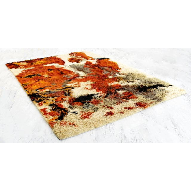 For your consideration is a fabulous, orange, red and gray, shag Rya rug, circa the 1970s. In excellent condition. The...