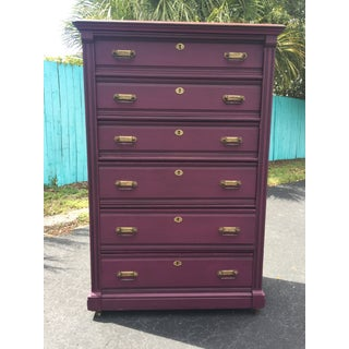 1900s Early American Antique Painted Highboy Chest of Drawers Preview