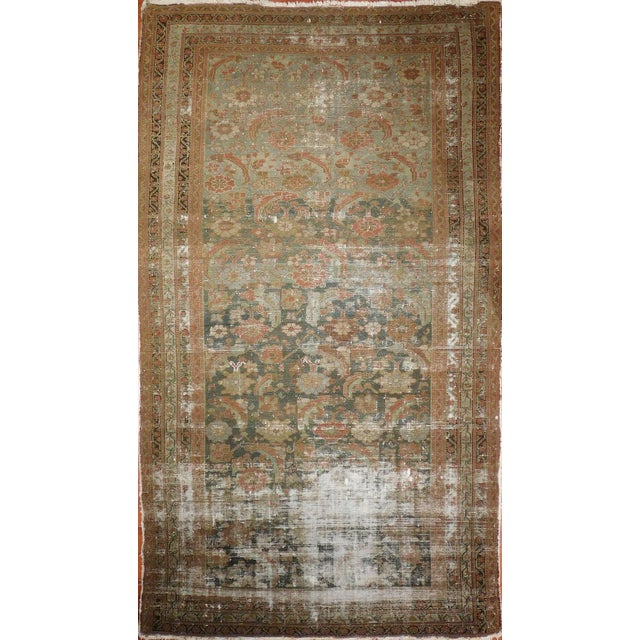 """Rug #546 - Antique Malayer Origin: Persia Size: 5'2"""" x 9'7"""" Design: Floral Pattern Material: Wool Primary Color: Olive..."""