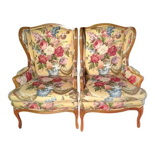 Louis XVI French Provincial Wingback Chairs - A Pair For Sale