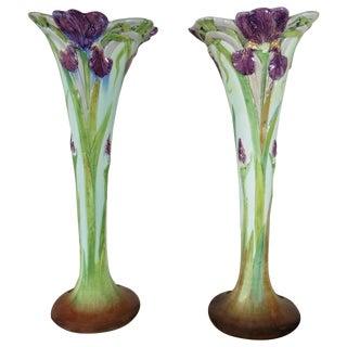 19th Century Art Nouveau Majolica Iris Vases - a Pair