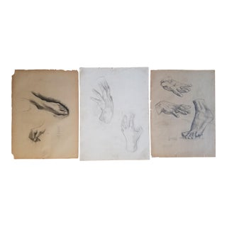 1930s Vintage C. Emerson Urion Charcoal Hands and Feet Drawings - Set of 3 For Sale