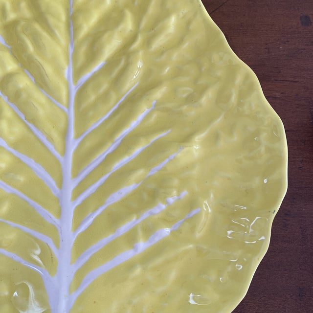 Mid-Century Modern Vintage Portuguese Yellow Cabbage Platter For Sale - Image 3 of 11