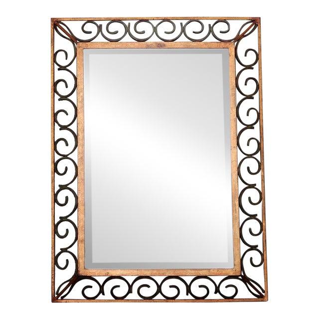 Art Deco Gilt Iron Framed Rectangular Mirror For Sale