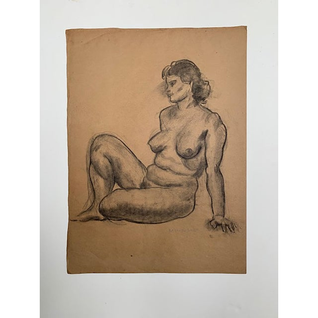 Art Deco 1935 Vintage Raphael Soyer Nude Drawing For Sale - Image 3 of 4