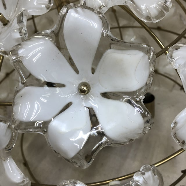 Metal Vintage 1960s White and Gold Flower Chandelier For Sale - Image 7 of 8