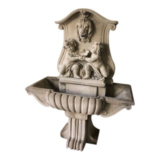 Large Ornate Cast Cement Fountain For Sale